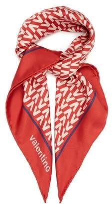 Valentino Logo Print Silk Scarf - Womens - Red