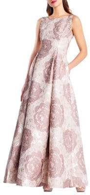 Adrianna Papell Long Floral Jacquard Dress