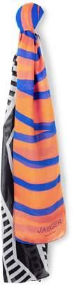Jaeger Zigzag Stripe Mix Silk Scarf