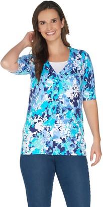Denim & Co. Floral Print Elbow Sleeve V-Neck Button Front Cardigan
