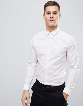 Asos Design DESIGN smart stretch slim stripe shirt with contrast collar and double cuffs