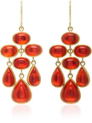 Mallary Marks Trapeze 18K Gold Cabochon Fire Opal Earrings