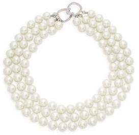 Kenneth Jay Lane Sterling Silver, Faux Pearl & Crystal Three-Row Collar Necklace