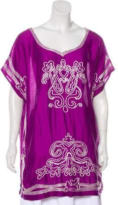 Oscar de la Renta Embroidered Silk Tunic