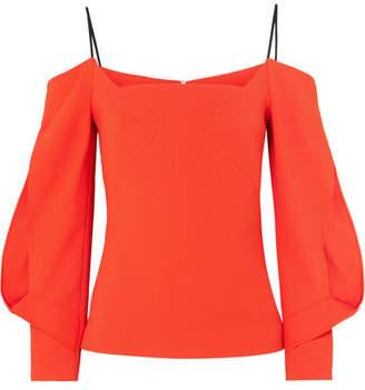 Roland Mouret Brigham Cold-shoulder Stretch-crepe Top - Bright orange