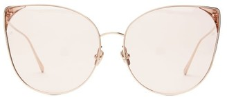 Linda Farrow Oversized Cat Eye Gold Plated Sunglasses - Womens - Pink