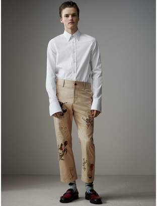 Burberry Sketch Print Cotton Cropped Chinos