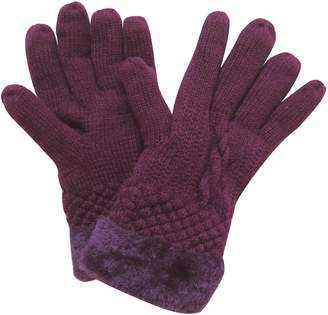 Lina & Lily Fashion Women's Winter Knitted Warm Gloves Faux Fur Trim