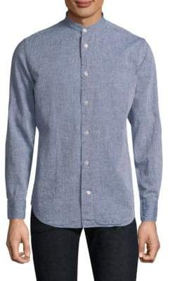 Eleventy Band Collar Button-Down Shirt