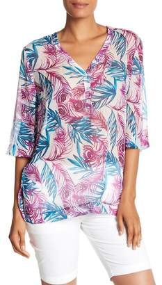 Tommy Bahama Fronds Of A Feather 3/4 Sleeve Silk Tunic