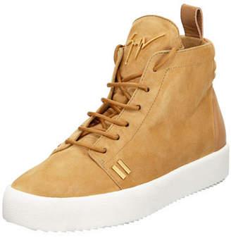 Giuseppe Zanotti Men's Suede High-Top Platform Sneakers, Tan