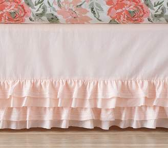 Pottery Barn Kids Sadie Ruffle Crib Skirt, Blush
