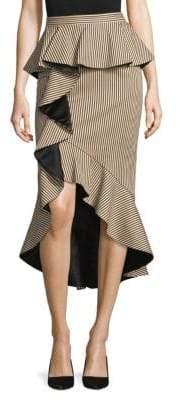Alice + Olivia Alice + Olivia Women's Alessandra Peplum Ruffle Pencil Skirt - Natural Black - Size 4