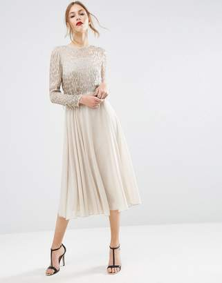 ASOS Embellished Tassle Long Sleeve Midi Dress $143 thestylecure.com