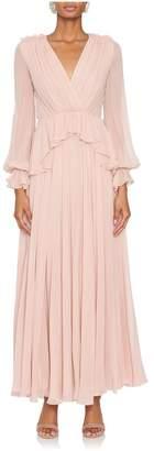 Giambattista Valli Plunge Neck Silk Peplum Gown