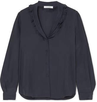 Frame Lettuce Collar Ruffled Washed-silk Blouse
