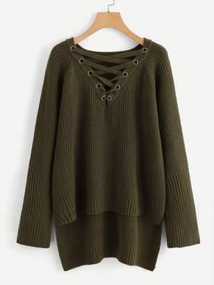 Shein Plus Grommet Crisscross Step Hem Sweater