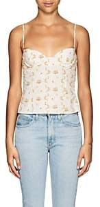 Brock Collection Women's Oboe Floral Cotton Crop Top - 112-Open White