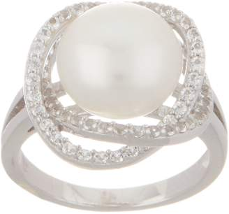 Honora Cultured Pearl & White Topaz Ring, Clad or Sterling Silver
