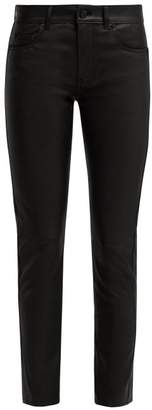 Saint Laurent Black Leather Trousers - Womens - Black
