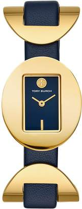 Tory Burch JACQUES WATCH, NAVY LEATHER, GOLD TONE, 28 X 33 MM