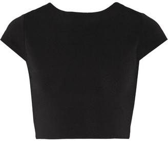 Alice + Olivia - Monika Cropped Cutout Stretch-jersey Top - Black $180 thestylecure.com