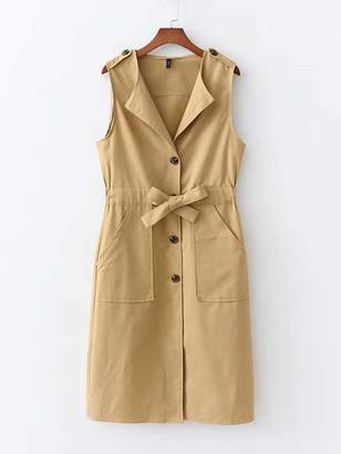 Shein Drawstring Waist Button Front Dress