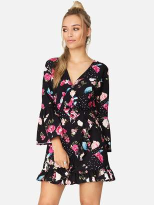 Girls On Film Splicing Floral Spot Wrap Dress - Printed