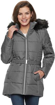Larry Levine Women's Hooded Belted Puffer Coat