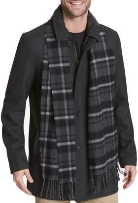Dockers Men's Wool-Blend Walking Jacket with Plaid Scarf