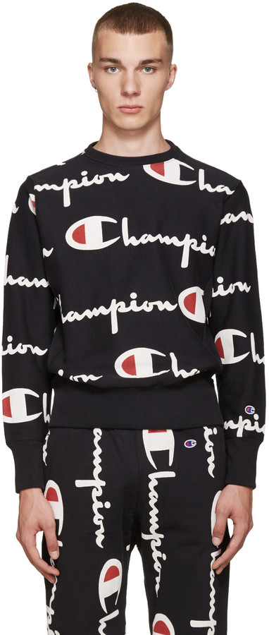 Champion Reverse Weave Black All Over Logo Pullover