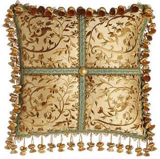 "Sweet Dreams Palazzo Como Embroidered Silk Pillow, 14""Sq."