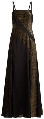 Zeus + Dione - Martina Crepe And Devore Velvet Dress - Womens - Black Gold