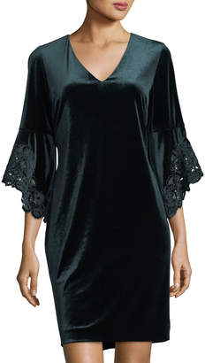 Tahari ASL Velvet Bell-Sleeve Shift Dress