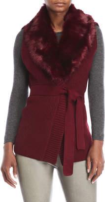 Dolce Cabo Faux Fur Collar Knit Vest