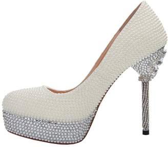 at Amazon Canada TDA Women's Fashion Slip on Rhinestones Platform Pearls Wedding Party Dress Stiletto Pumps 6 M