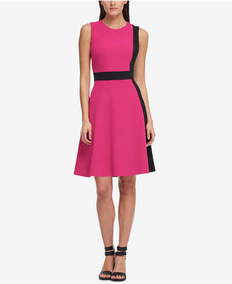 DKNY Colorblocked Fit & Flare Dress, Created for Macy's