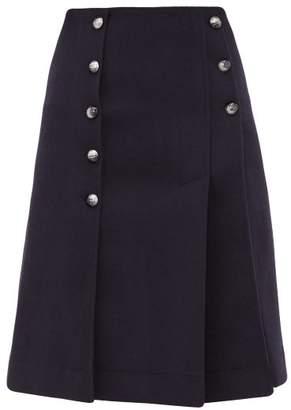 Chloé Buttoned Front Slit Wool Blend Skirt - Womens - Navy