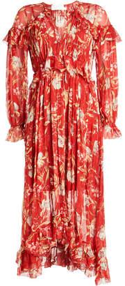 Zimmermann Corsair Iris Printed Silk Chiffon Dress