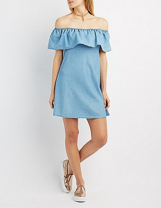 Chambray Off-The-Shoulder Dress $32.99 thestylecure.com