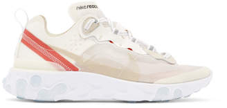 Nike White and Orange React Element 87 Sneakers