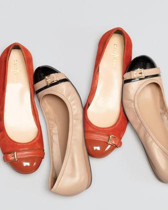 Cole Haan Air Reesa Buckle Cap-Toe Ballerina Flat
