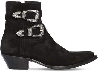 Saint Laurent 40mm Double Buckle Leather Boots