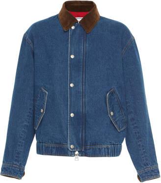 Ami Denim Jacket With Corduroy Collar