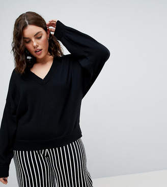 Asos Jumper In Knit With V Neck And Batwing Sleeves