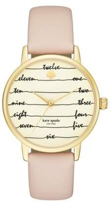 Kate Spade 'metro - Chalkboard' Leather Strap Watch, 34mm