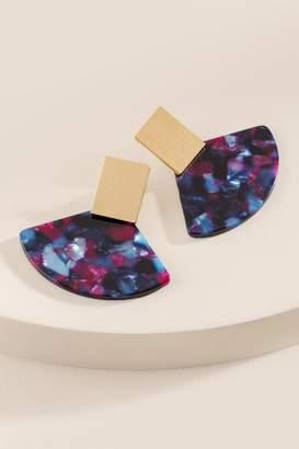 francesca's Katelyn Marbled Resin Statement Earrings - Purple