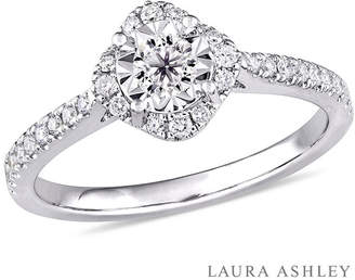 Laura Ashley MODERN BRIDE Laura Asley Womens 3/8 CT. T.W. Genuine White Diamond Sterling Silver Engagement Ring