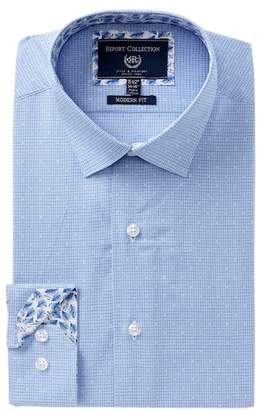 Report Collection Geo Print Trim Fit Dress Shirt