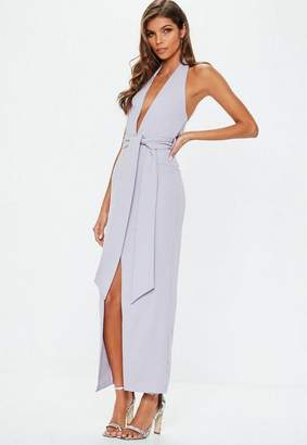 Missguided Lilac Plunge Tie Waist Maxi Dress